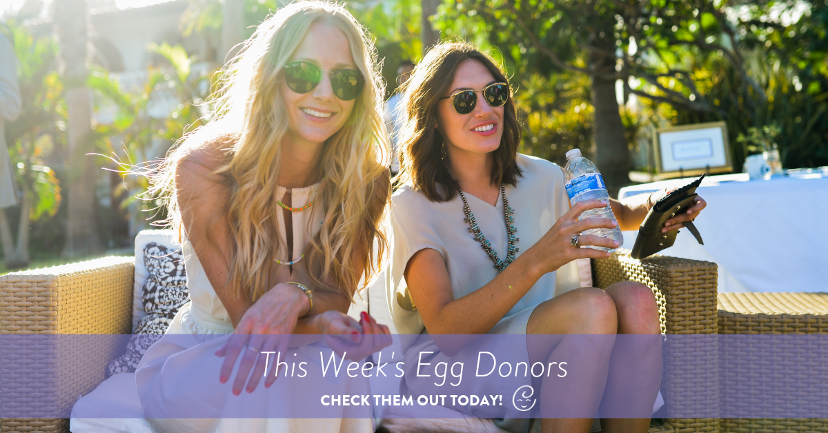 This Week's Egg Donors, 2 egg donors wearing sunglasses sitting on outdoor chairs